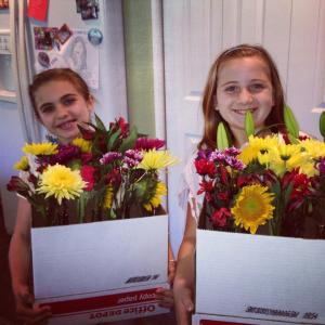 girls with big flowers