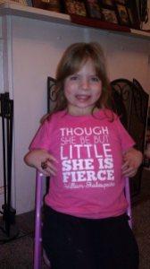 elizabeth with tshirt message