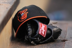 orioles hat and glove