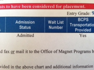 letter admitted