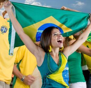 nanda and flag of brazil